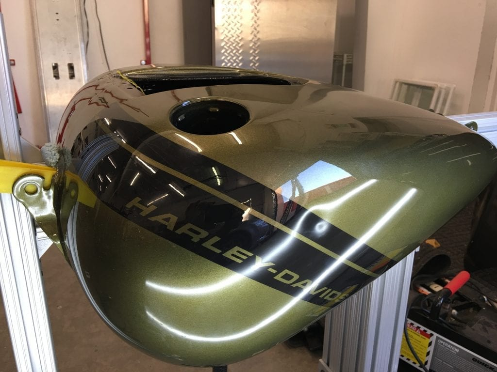 Motorcycle dent removal and scratch repair at Pro Auto Spa in Colorado Springs